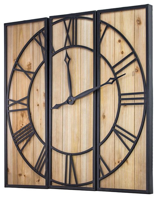 Wood And Metal 3 Piece Wall Clock