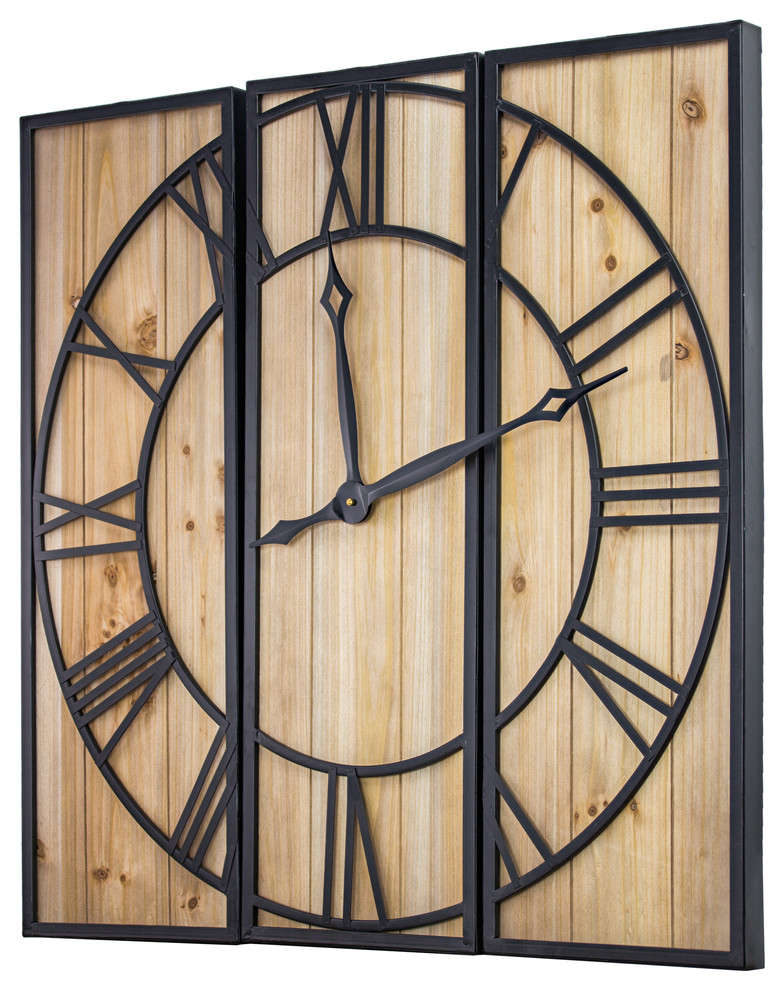 Oversized Wood And Metal 3 Piece Wall Clock 30 X 30 Industrial Wall Clocks By American Art Decor Inc