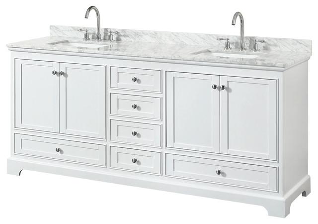 "Deborah 80"" Double Bathroom Vanity, White, Carrara Top, Square Sinks"