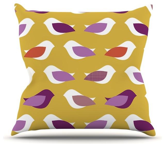 Pellerina Design Golden Orchid Birds Yellow Purple Throw Pillow