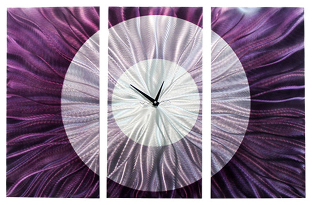 Large Purple Wall Clock. Contemporary Panel Art - Noble Spell Clock By Jon Allen.