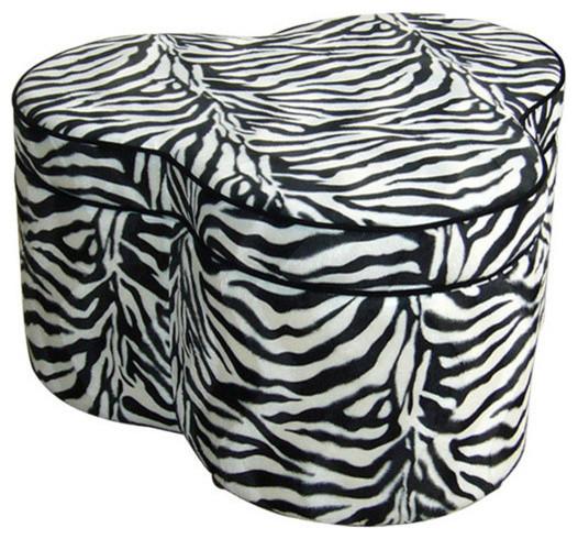 "17.5""H Zebra Storage Ottoman With  3 Seating"