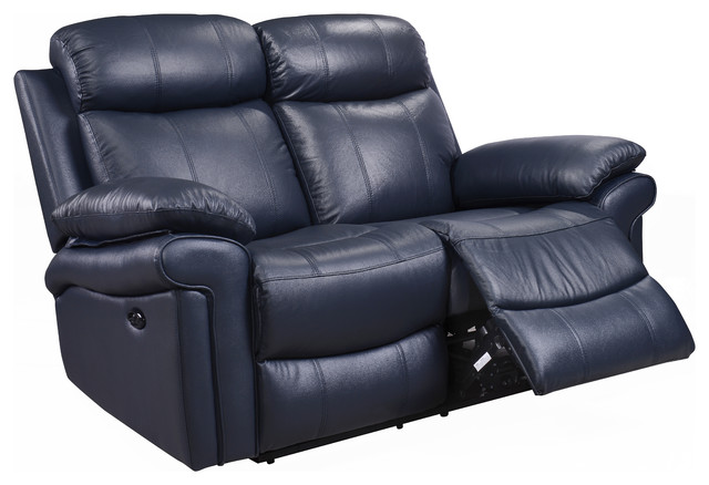 Hudson Power Reclining Top Grain Leather Loveseat, Blue