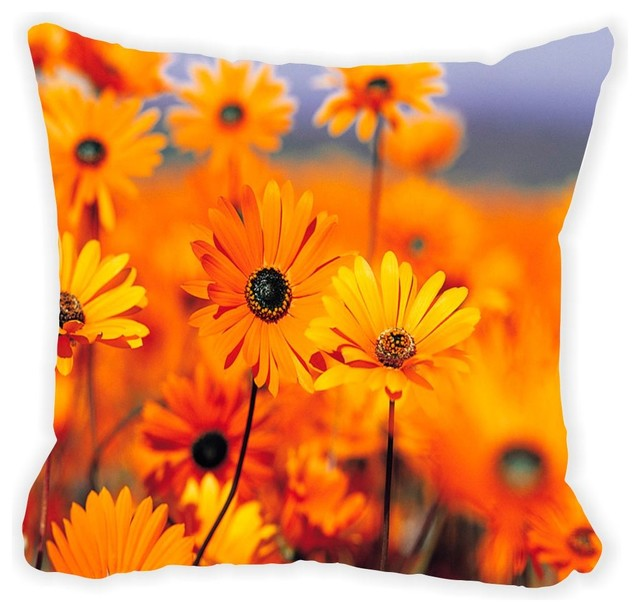 Orange Flower On Blurred Background Microfiber Throw Pillow No Fill