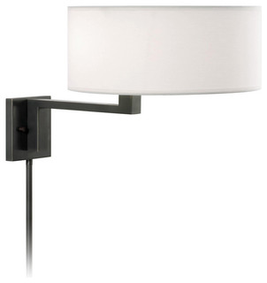 swing wall lamp with off white shade contemporary swing arm wall. Black Bedroom Furniture Sets. Home Design Ideas
