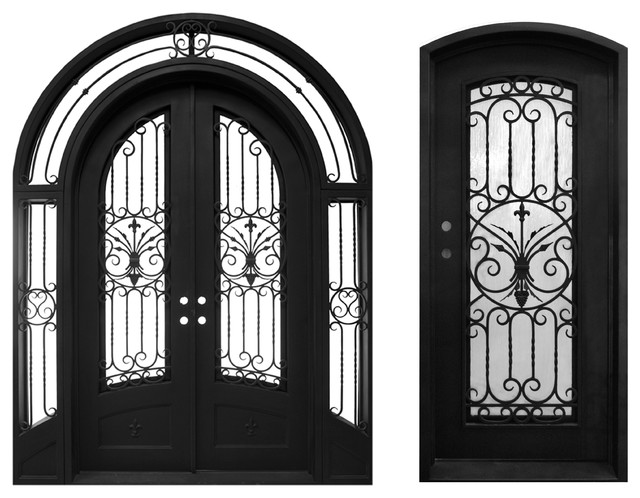 High End Front Entry Double Wrought Iron Door With Same Style Single Door