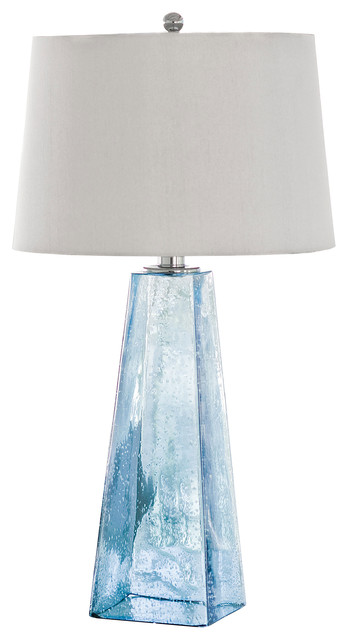 Marvelous Lely Coastal Beach Ice Blue Seeded Glass Lamp Beach Style Table Lamps