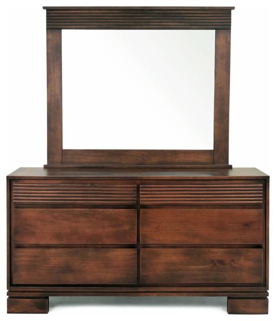 Vienna 6 Drawers Dresser And Mirror, Cinnamon.