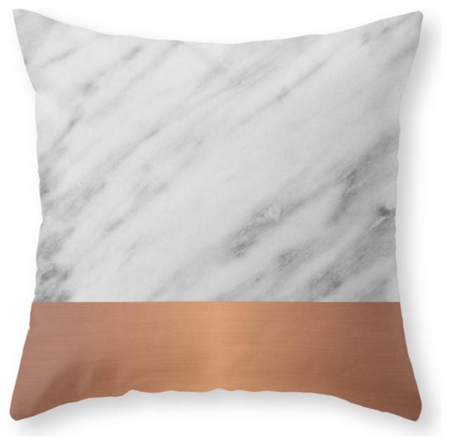 Carrara Italian Marble Rose Gold Pillow Cover - Contemporary - Decorative Pillows - by Society6