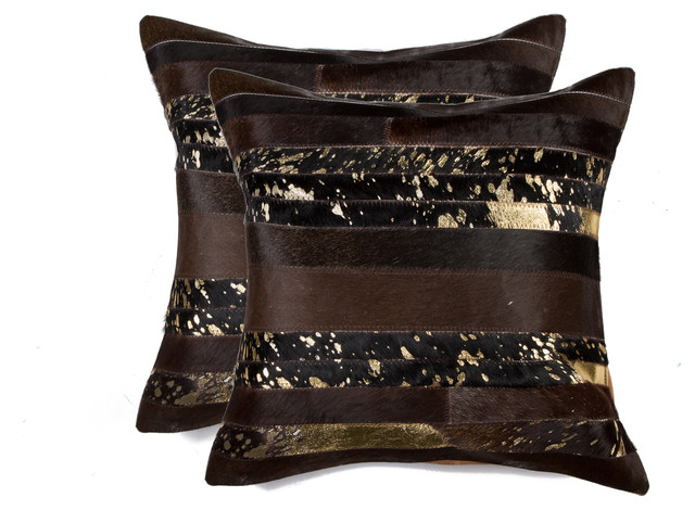 "Torino Madrid Pillows, Set Of 2, Gold/chocolate, 18""x18""."