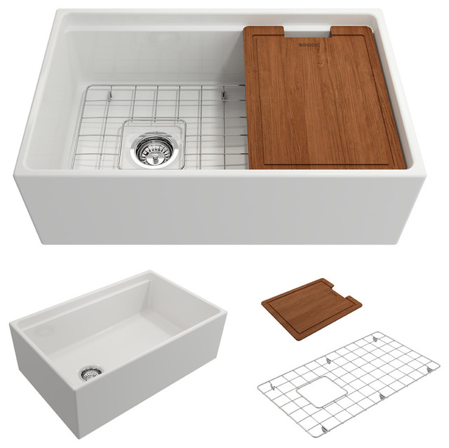 """Contempo Fireclay Farmhouse 30"""" Kitchen Sink With Grid And Strainer, White."""