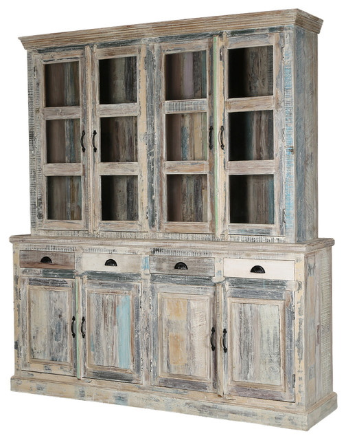 Country Kitchen Winter White Reclaimed Wood Breakfront Hutch Sideboard  Farmhouse Buffets And Sideboards