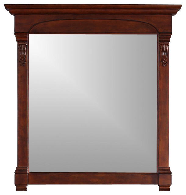 "Wentworth Wall Mirror With Wooden Frame, Warm Cherry, 30""x42""."
