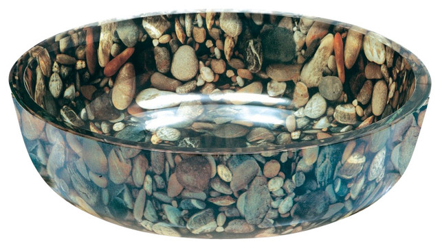 River Rock Round Vessel Sink Contemporary Bathroom Sinks By