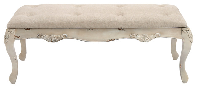 Modern Victorian Wood And Fabric Bench, Antique Ivory.