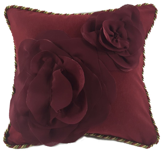 Decorative Pillows With Embellishments : PillowTalk Direct Deep Red Cotton and Rayon Knit Pillow With Flounce Petals Embellishment ...