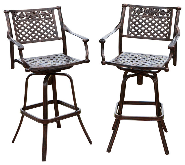 Sierra Outdoor Cast Aluminum Swivel Bar Stools Set of 2 transitional- outdoor-bar  sc 1 st  Houzz : patio bar stools swivel - islam-shia.org