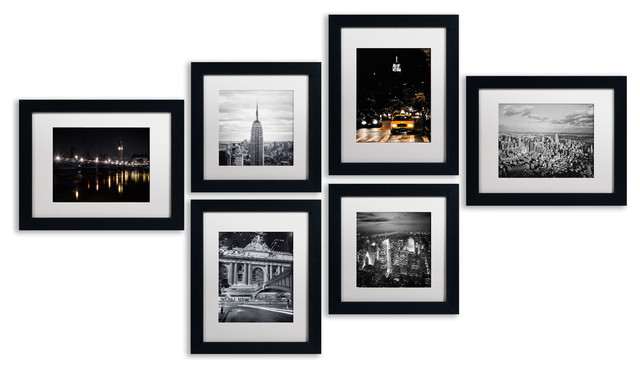 Urban Gallery Wall Collection&x27; Multi-Panel Matted Framed Canvas Art Set.