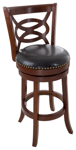Lavish Home 31 In Wood And Leather Swivel Stool Dark