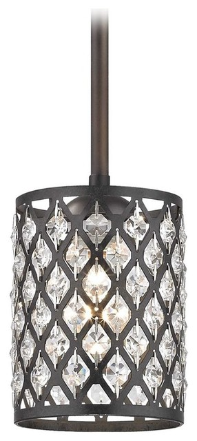 Crystal Stem Hung Mini-Pendant Light, Neuvelle Bronze/phoenix.