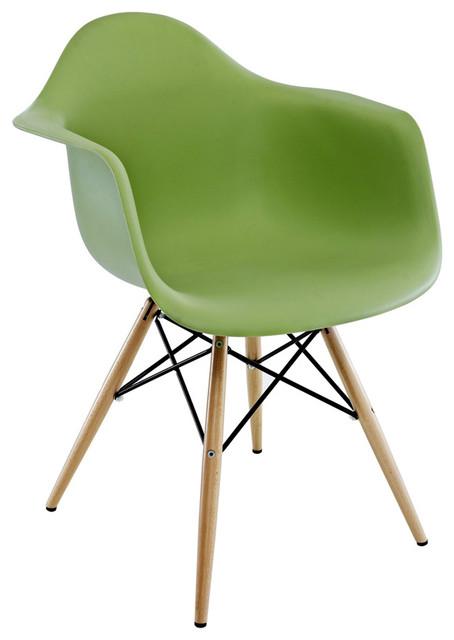 Perfect DAW Green Mid Century Modern Plastic Dining Armchair W/ Wood Eiffel Legs  Midcentury Dining