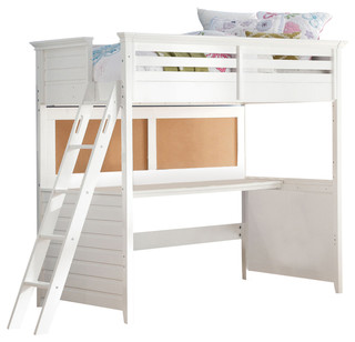 Acme Lacey Loft Bed With Desk Twin, White