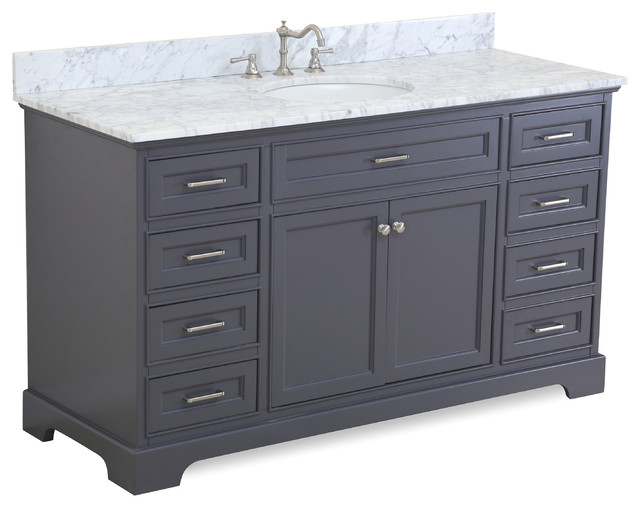 Kitchen bath collection aria 60 bath vanity with for Marble top console sink