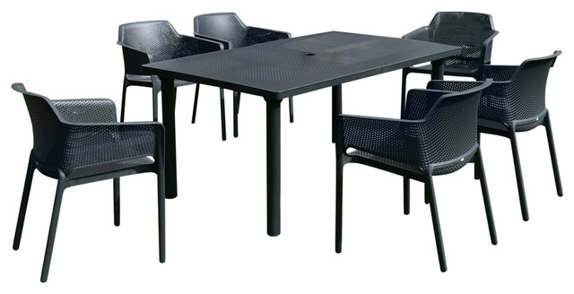 Anthracite Libeccio Dining Table With Net Chairs, 7-Piece Set