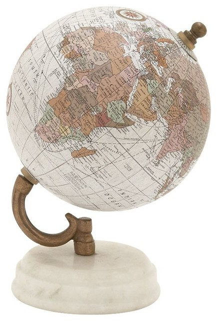 Marvelous Wood And Metal Marble Globe