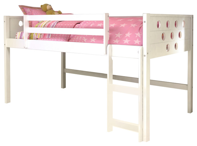 Donco Kids Circles Low-Loft Bed, White, Twin.