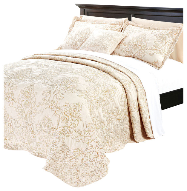 Damask Embroidered Quilted 4 Piece Bed Spread Sets