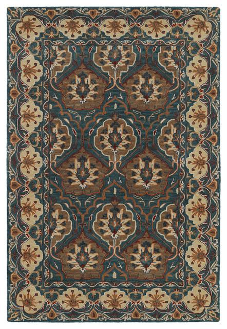 Kaleen Hand Tufted Middleton Teal Wool Rug, 8&x27;x10&x27;.