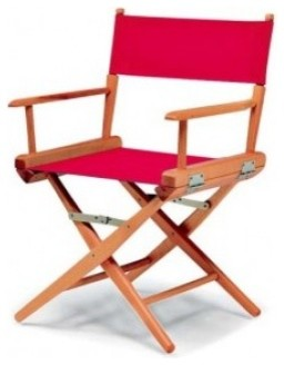 World Famous Director Dining Height Arm Chair Canvas Red 1c