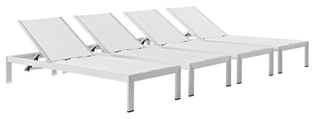 Shore Outdoor Patio Chaise Outdoor Patio Aluminum, Set Of 4, Silver White.
