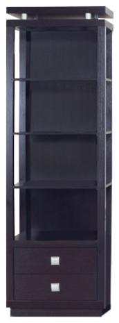 Spacious Media Tower With Square Bar Drawer Handles, Dark Brown.