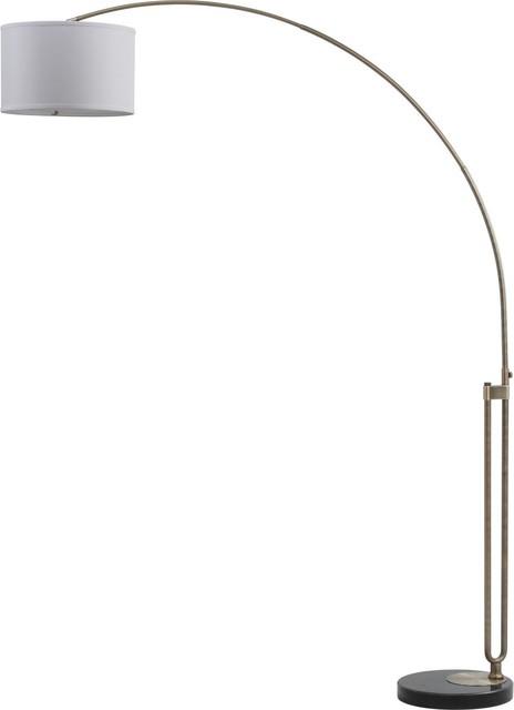 Swing-Arm Floor Lamp With Shade , Bo-2077swfl-Db/sh-1368