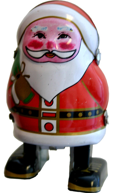 Collectible Tin Santa Claus Toy.