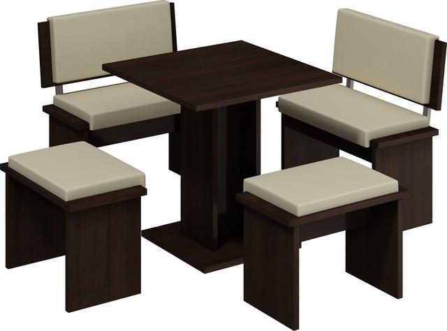 5 Piece Breakfast Kitchen Nook Table Set Bench Seating Dark Oak Beige