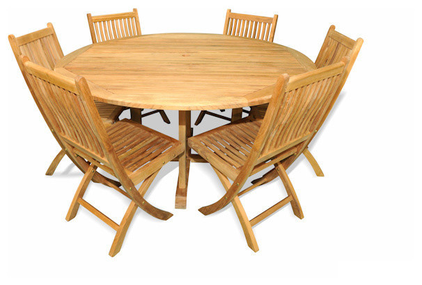 Teak patio dining set 60 round table teak folding side for Dining table without chairs