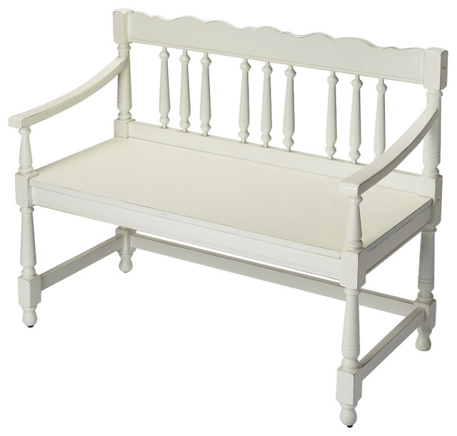 Nantucket Storage Bench Cottage Style Solid Wood 15: Butler Cather Cottage White Bench