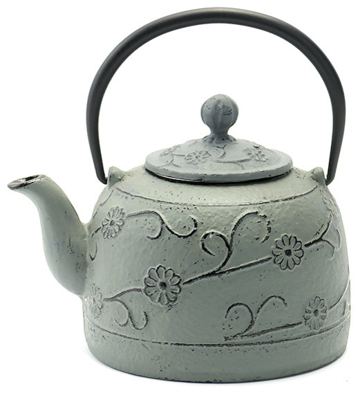 Rikyu Fl Cast Iron Teapot Gray