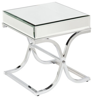 Ava Mirrored End Table, Chrome