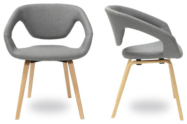 Lot de 2 fauteuils design flex back natural couleur gris for Chaise de salle a manger gris clair