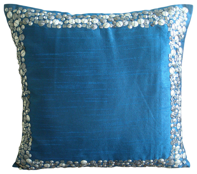 Royal Blue Silver 14 X14 Art Silk Pillows Cover