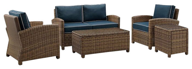 Bradenton 5-Piece Outdoor Wicker Conversation Set With Cushions, Navy.