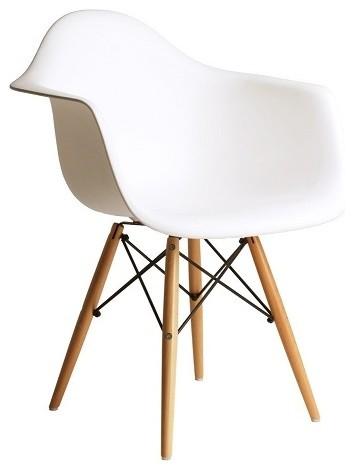 Exceptional DAW White Mid Century Modern Plastic Dining Armchair, Wood Eiffel Legs