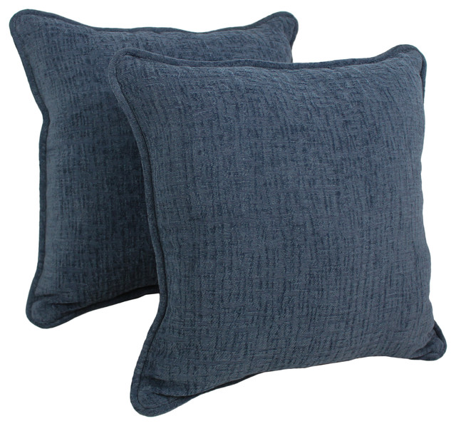 Shop Houzz Blazing Needles 18-inch Solid Chenille Square Throw Pillows, Inserts Set of 2 ...