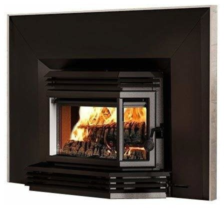 2200 Wood Insert, Black Door Overlay, Lg. Faceplate, Nickel Trim Kit, 32 X 50.