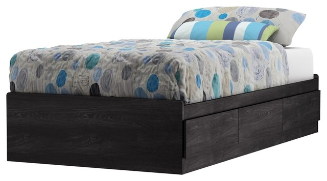 South Shore Fynn Twin Mates Bed (39&x27;&x27;) With 3 Drawers, Gray Oak.