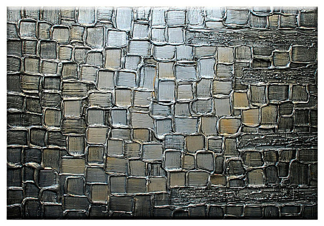 Oil Painting Abstract Large Silver Squares